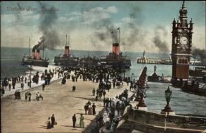 Victoria Pier & Steamers - Douglas IOM Isle of Man c1910 Postcard