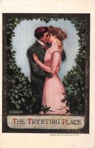 Lou Mayer~The Trysting Place~Romantic Couple~Leafy Heart Bower~1909 Postcard