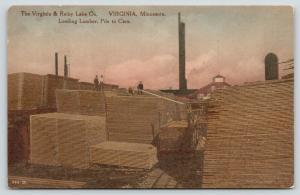 Minnesota~Virginia & Rainy Lake Lumber Co~Workers Load Railroad Cars~1920s HC