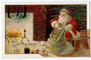 Christmas - Santa with Sack of Toys and Teddy Bear