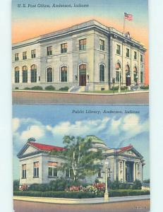 Unused Linen LIBRARY & POST OFFICE Anderson Indiana IN hs1076-25