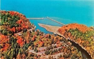 Bessemer Michigan~Black River Harbor Park~Aerial View~Fall Colors 1950s