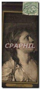 Postcard Old Greuze girl Study