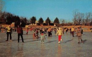 Winter Fun, Gypsy Hill Park Lake, Staunton, Virginia Ice Skaters c1960s Postcard