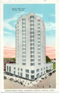 Edmond Meany Hotel in University District, Seattle, Washington, WA, White Border
