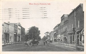 F73/ Fremont Indiana Postcard 1921 Main Street Stores Automobile