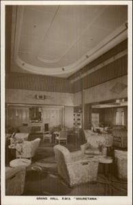 Steamship RMS Mauretania Grand Hall c1915 Real Photo Postcard