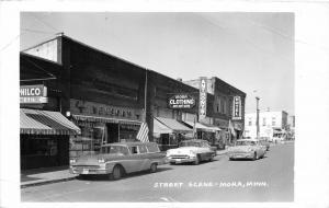 F36/ Mora Minnesota RPPC Postcard 1963 Street Scene Hotel Stores
