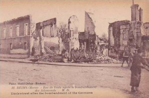 France Marne Reims Laon Avenue After Bombardement By Germans