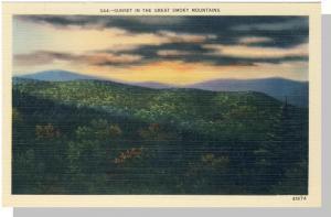 Smoky Mountains, TN/NC Postcard,Beautiful Sunset, Near Mint!
