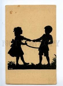 236127 SILHOUETTE Anna SCHIRMER children OLD Russian postcard