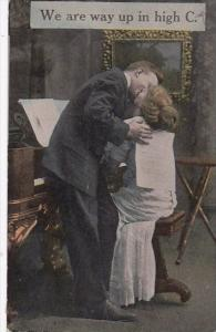 Romantic Couple With Piano Kissing 1914