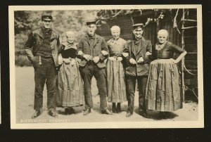 Vintage Boerenleut Nunspeet Portrait 6 People B&W Real Photo Postcard Unposted