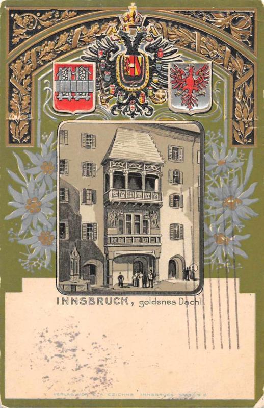 Innsburck Austria Goldenese Dachl Antique Postcard J76286