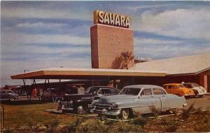 Autos Casino Hotel Sahara 1950s Roberts roadside postcard 8668