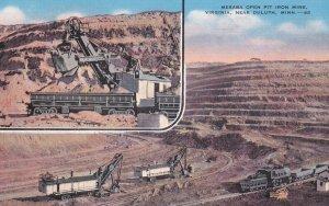 DULUTH, Minnesota, 1930-40s; 2-Views, Mesada Open Pit Iron Mine, Shovels & Lo...
