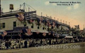 Henderson's Restaurant & Music Hall Coney Island, New York Amusement Park Pos...