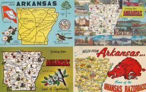 Arkansas Razorbacks 4x Map Postcard s