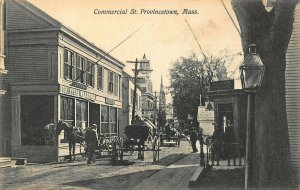 Provincetown MA Commercial Street Horse & Wagon Storefronts Early Postcard