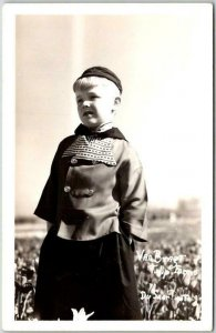 Vintage 1940s HOLLAND Michigan RPPC Postcard VAN BRAGT TULIP FARMS Du Saar Photo