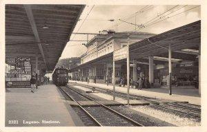 Lugano Switzerland view of Railway Station platforms real photo pc BB1764