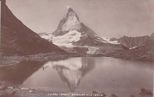 RP: Zermatt Mountain & mirror reflection inlake,Switzerland,1910s