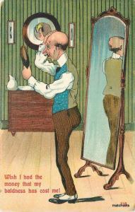 Artist impression Interior Bald Man in Mirror C-1910 postcard 10093