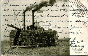 Vtg Postcard 1907 Vicksburg Mississippi MS - Steamboat Load of Cotton UDB