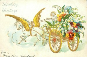 Pegasus with a Chariot pm 1907 Birthday Greetings Postcard