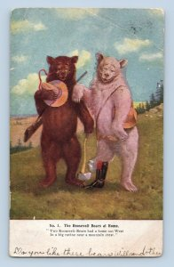 Roosevelt Bears at Home Anthropormphic UDB 1907 Slippery Rock PA Postmark
