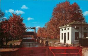 Waterloo New York~Seneca and Cayugo Barge Canal Lock~1950s Postcard