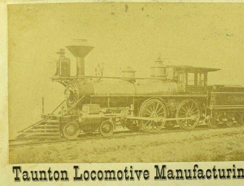 1870's Taunton Locomotive Manufacturing Co. Real Photo Steam Engine Card P108