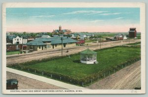 Warren Minnesota~Big Bandstand in Central Park~Great Northern RR Depot~1919 PC