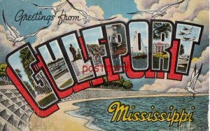 Greetings from GULFPORT Mississippi, large letters, publ Kropp,