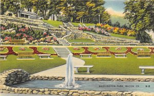 Macon Georgia 1940s Postcard Washington Park Fountain Gardens