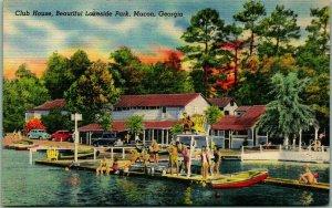 Vintage MACON Georgia Postcard LAKESIDE PARK Bathing Swimming Scene Linen Unused