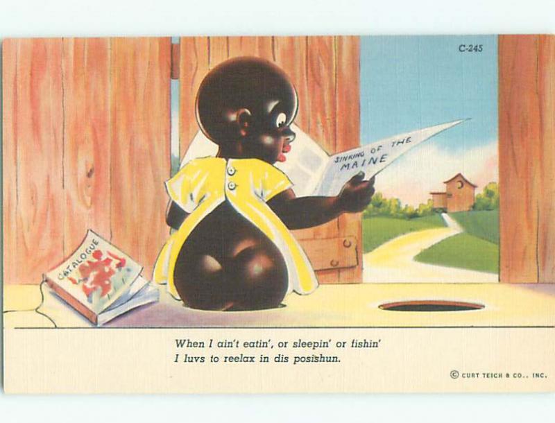 Linen black americana postcard k8727@