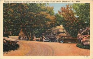 Green Mts Vermont~Where The Roads Winds~Giant Bolders In Smuggles Notch~1933 Car