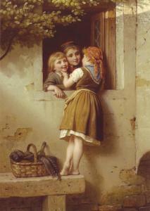 Little children are talking at the window by Johann Meyer NEW MDRN Postcard