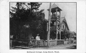 Driftwood Cottage LONG BEACH, WA Pacific Co. 1908 Vald Lidell Vintage Postcard