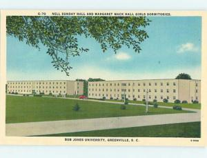 Unused Linen GIRLS DORM AT BOB JONES UNIVERSITY Greenville SC Q8837