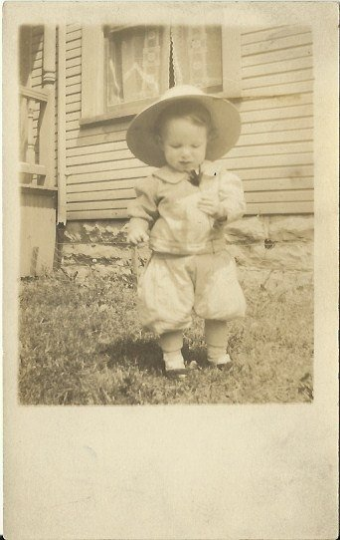 Antique Postcard Real Photo RPPC of A Little Boy in a Safari Hat 1904-1918