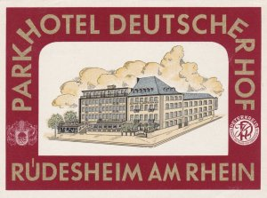 Germany Ruedesheim Parkhotel Deutscherhof Vintage Luggage Label sk1172