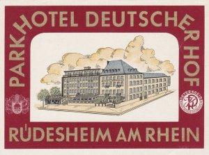 Germany Ruedesheim Parkhotel Deutscherhof Vintage Luggage Label sk1172