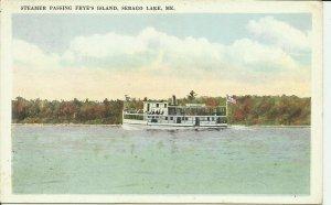 Sebago Lake, Me., Steamer passing Frye's Island
