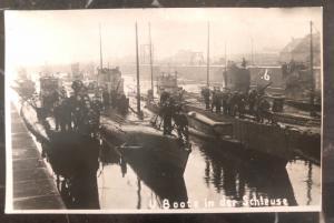 Mint Germany Postcard RPPC WWI U Boats in the lock Kaiserliche Marine Submarine