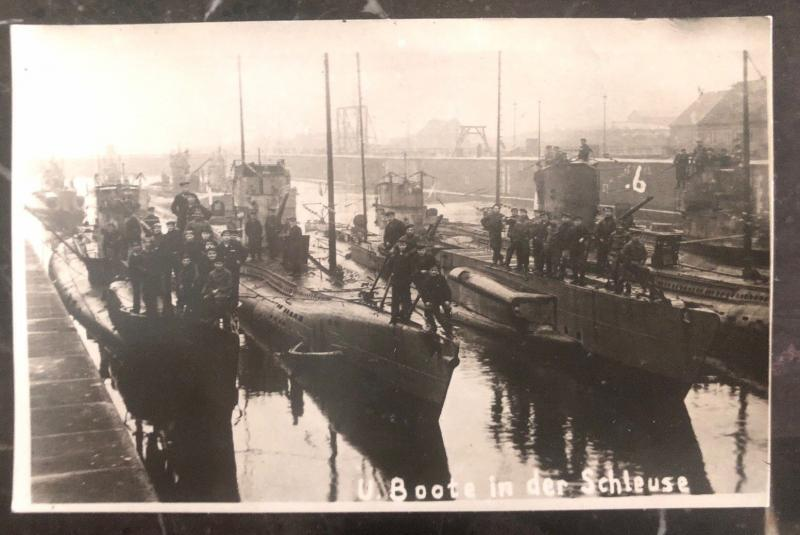 Mint Germany Postcard RPPC WWI U Boats in the lock Kaiserliche Marine Submarine