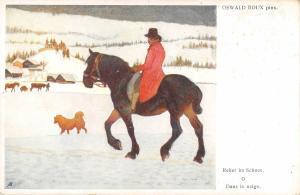 B23992 Horses Chevaux Oswald Roux Dans la Neige  painting postcard animal