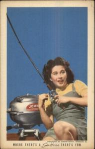 Johnson Sea Horse Boat Motors - Pretty Woman Fishing c1940 Postcard