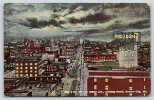 Kansas City Missouri~Grand Avenue North Birdseye View @ Night~Firestone~c1910
